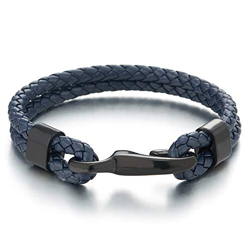 COOLSTEELANDBEYOND Mens Womens Two-Row Navy Blue Braided Leather Bangle Bracelet Wristband with Black Steel Hook Clasp