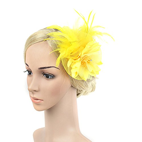 SZTARA Netting Feathers Big Flower Headband Party Girls Women Fascinator Hair Clip Headwear Cocktail Hat Head Decoration Yellow