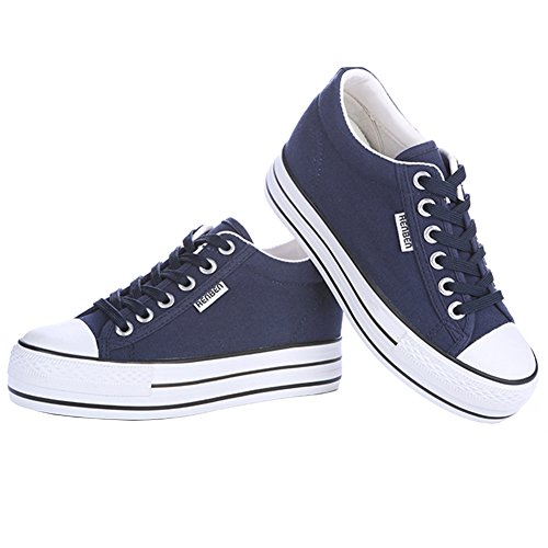 Renben Meisjes Klassiek Damesschoenen Lage Sleehak Canvas Sneakers Sneakers Espadrille Schoenen Wedge-navy