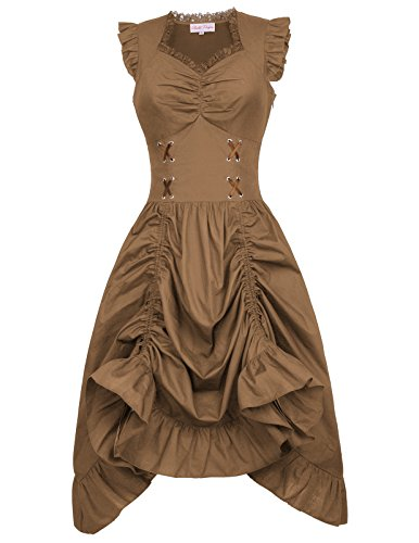 Belle Poque Victorian Steampunk Gothic Renaissance Ruffled Dress Corset Style L Coffee -