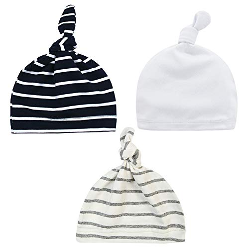 Little World Baby Hat Unisex Baby Cotton Stripy Knot Adjustable Super Soft Knotted Caps, 3 Unisex Stripy Colors (Hat Beanie Knotted)