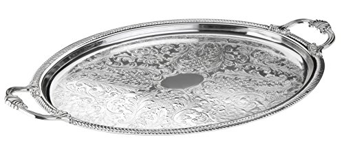 Oval Silver Plated Serving Tray - Queen Anns Serving Tray Silver Plated