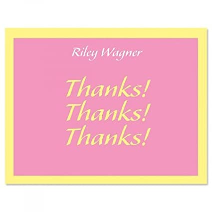 Amazon Com Personalized Pink Bordered Hues Thank You Cards 24