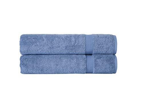 SALBAKOS Turkish Luxury Hotel & Spa 35x70 Bath Sheet Set of 2, Turkish Cotton, Organic, Eco-Friendly, Blue