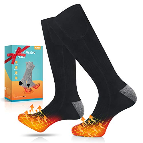Jomst Upgraded Heated Socks for Men Women, Rechargeable Electric Battery Powered Sox,3 Heating Settings Heated Sock for Skiing Hunting, Fits US Size 6-14.