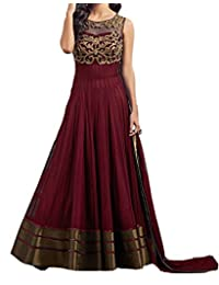 Snreks Collection Maroon Coloured Net and Georgette Fancy Dress Material