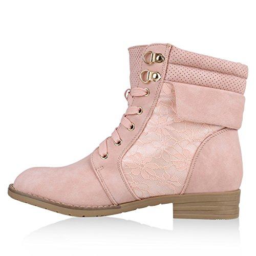 Damen Stiefeletten Worker Boots Leder-Optik Schnürstiefeletten Stiefel Camouflage Booties Blockabsatz Spitze Gr. 36 - 42 Flandell Rosa Spitze