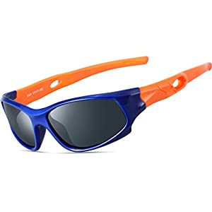 ATTCL Kids Hot TR90 Polarized Sunglasses Wayfarer Style For Boys Girls Child Age 3-10 1P5025 orange bule