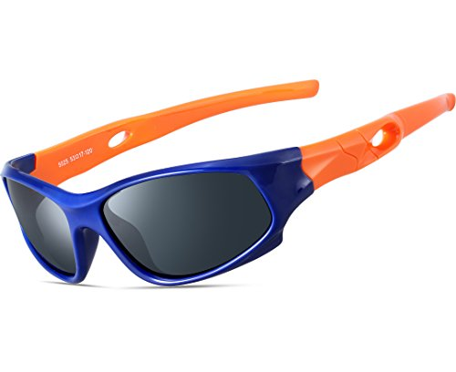 Kids Sunglasses (ATTCL Kids Hot TR90 Polarized Sunglasses Wayfarer Style For Boys Girls Child Age 3-10 1P5025 orange bule)