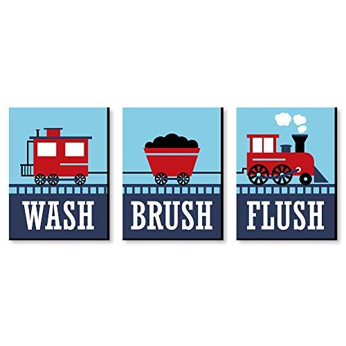 Railroad Party Crossing - Kids Bathroom Rules Wall Art - 7.5