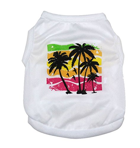 [Pet Dogs Cotton White Coconut Tree Vest Cute T-shirt Summer Costumes Clothing (L)] (Dorothy Dog Costume Xl)