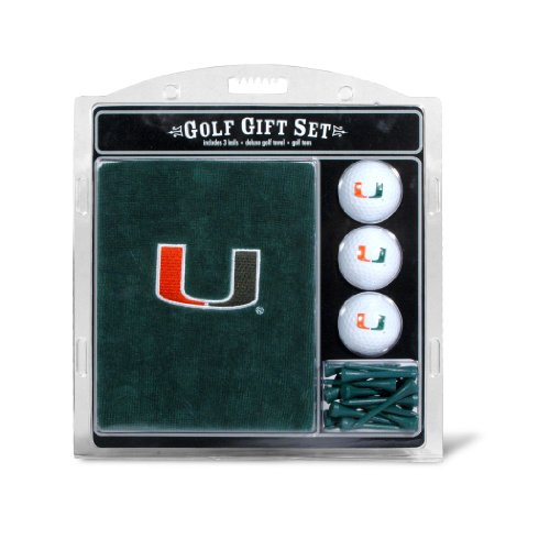 Team Golf NCAA Miami Hurricanes Gift Set Embroidered Golf Towel, 3 Golf Balls, and 14 Golf Tees 2-3/4