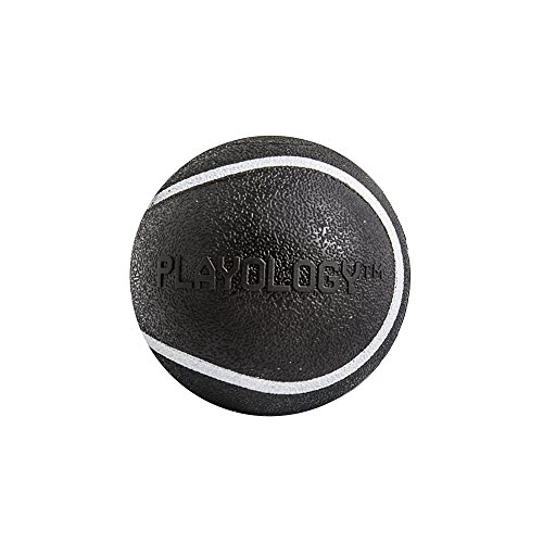 Image of Playology Squeaky Chew Ball Dog Toy Bacon Scent, Small, Black