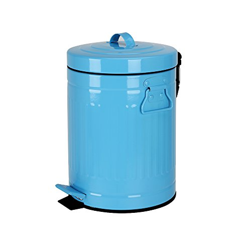 Bathroom Trash Can with Lid, Blue Wastebasket for Home Bedroom with Lid, Round Waste Bin Soft Close, Small Retro Vintage Metal Garbage Can for Office, 5 Liter / 1.3 Gallon, Glossy Blue