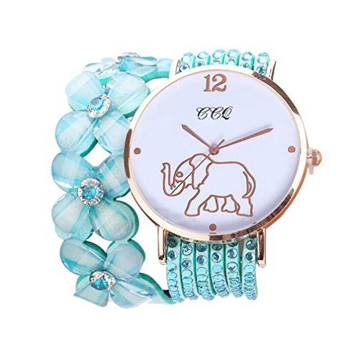 CCQ Beautiful Fashion Bracelet Watch Ladies Watch Round Bracelet Watch Circle Bracelet Table (Mint Green)