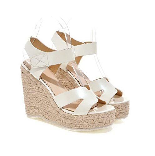 AgooLar Women's Open Toe High Heels Nappa Solid Hook And Loop Sandals White 30XTPvWk9