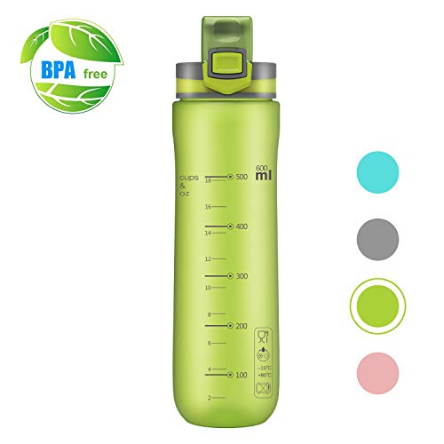 (Letsfit Sports Water Bottle, BPA-Free Tritan Plastic Water Bottle with Locking Flip-Flop Lid, Leakpoof and Dustproof Cap, Carry Loop, 21oz Bottle for Outdoor Hiking Camping Travel (Frosted Green))
