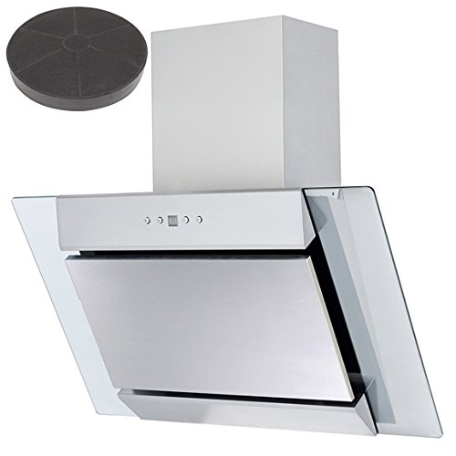 SIA AGL71SS 70cm St/Steel Angled Glass Cooker Hood Extractor Fan + Carbon Filter