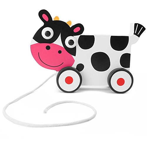 Imagination Generation Wooden Wonders Push-n-Pull Spotted Cow Toy (Wooden Cow Pull Toy)