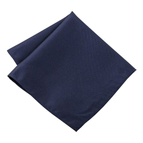 100% Silk Woven Navy Blue Pocket Square Handkerchief by John William
