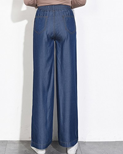 Haute Droite Evase Large Taille ZhuiKunA Confortable Femme Jambe Grande Bleu Jeans Taille tqxOwfY