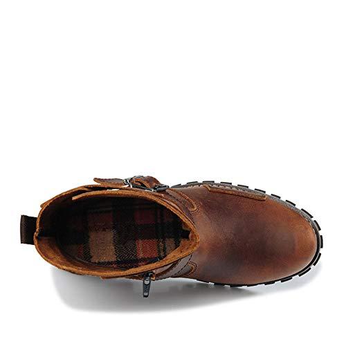 5cm 40 en 24 2 pour Étanche Taille XOXO Cuir Bottes Martin 27cm Toe Laiton Antistatique véritable Couleur 3 Hommes Round Laiton EU XTUwqvP