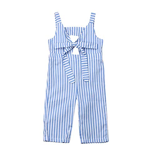 FOCUSNORM Kids Toddler Baby Girls Summer Romper Outfit Stripe Overall Bodysuit Jumpsuit Cropped Trousers Clothes (Blue, 0-6 -