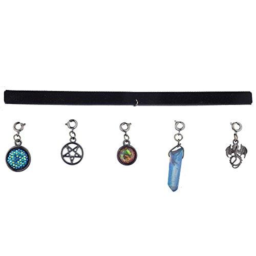 Lux Accessories Hem Mystical Dragon Suede Interchangeable Charm Choker Necklace