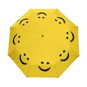 yochoice Hipster Happy Smiley Emoticon Emoji amarillo plegable automática paraguas, 3-fold compacto Fashion paraguas de viaje