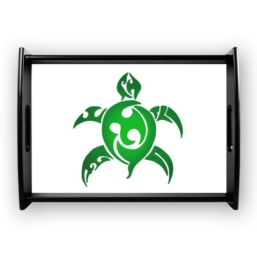 CafePress Green Tribal Turtle Tray Large Serving Tray - Standard Black