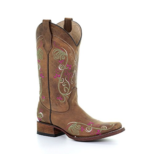 Cerchio G Corral Womens L5351 Western Boot Tan Ricamo Floreale