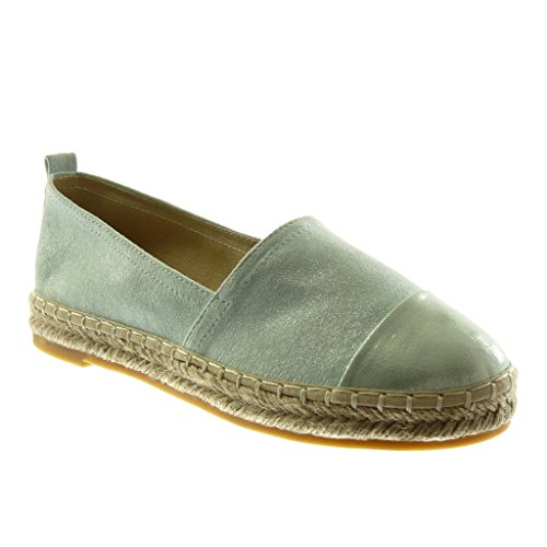 Angkorly Women's Fashion Shoes Espadrilles - Slip-on - Bi Material - Grained - Cord Block Heel 2.5 cm Green