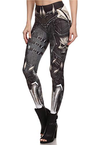 color cosplayer Steampunk Retro Comic Cosplay Women Leggings Print Polyester Trousers Pants (S, KDK1627)