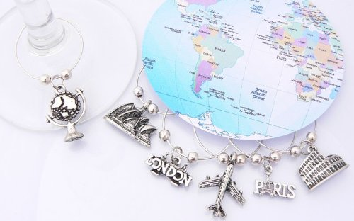 World Travel Wine Glass Charms - Silver plated - Set of 6 - Gift packaged