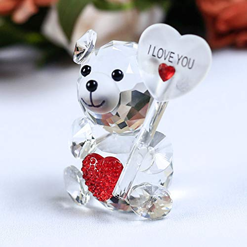 ZAMTAC 1 Piece Cute Bear Crystal Figurine with A Heart Shaped Ornament DIY Glass Animal Miniature Love Romantic Gifts Home Decor - (Color: Red Holding Plate) ()