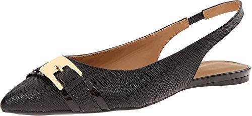 Nine West Women's Anyamarie Black/Black Leather 1 Flat 10 M
