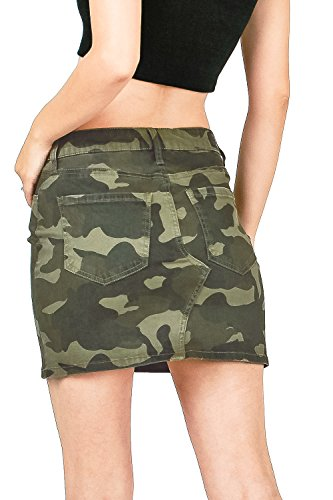 Celebrity Pink Women's Juniors Mid Waist Camo Print Mini Skirt (1, Camo) by Celebrity Pink (Image #2)