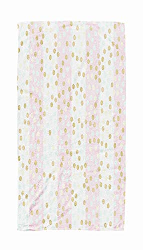 Bisead 30×60 Beach Towel,Beach Pool Travel,Large Absorbent Quick Dry Pattern Glittering Dots Pink Glitter Stripes Dot Bright Holidays Background Gold Wedding Invitation Wrapping Textile Baby Shower -
