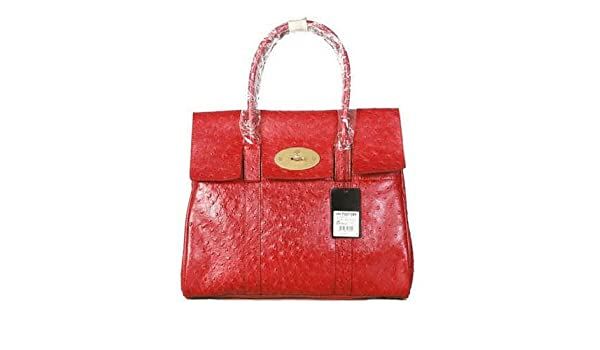 1cfca306bbe0 Amazon.com   Mulberry Bag Bayswater Ostrich Red   Cosmetic Tote Bags    Beauty