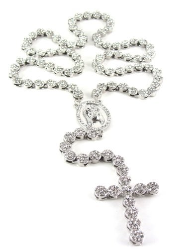 Iced Out 36 Silver Rosary Cluster Simulated Diamond Chain Necklace Cross 14K Finish by Hip Hop Jewels