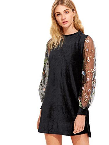 DIDK Women's Velvet Tunic Dress with Embroidered Floral Mesh Bishop Sleeve Black M ()