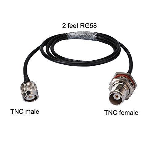 PC-CASE - Cable coaxial RF de 2 pies con Conector Tnc Hembra a Casquillo TNC Macho Recto de Montaje Rg58 60 cm para Antena...