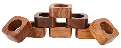 Shalinindia Handmade Wedding Party Decorations Wood Napkin Rings Set of 8 for Dinner Ideas (Napkin Rings Modern)