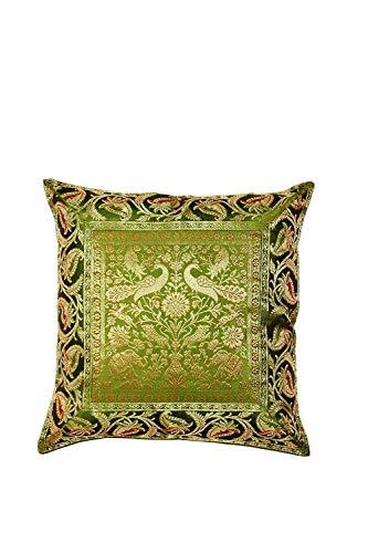 (Real Online Seller Indian Silk Brocade Pillow Cover,Home Decor Brocade Banarsi Silk Pillow Cover 16 X 16 Inch)