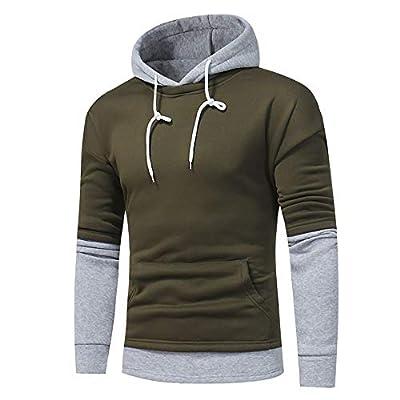 Gobling Mens' Long Sleeve Patchwork Hoodie Hooded Sweatshirt Tops Warm Splicing Outwear Blouse