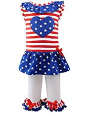 AnnLoren Big and Little Girls' Spring and Summer Tunic and Leggings Clothing, from 12 Months to 13 Years