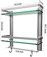 Best VDOMUS Tempered Glass Bathroom Shelf With Towel Bar Wall Mounted Shower New