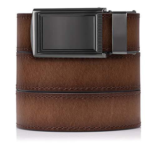 SlideBelts Premium Full Grain Leather Ratchet Belt (Adobe with Framed Gunmetal Buckle) (Buckle Tank Leather Strap)