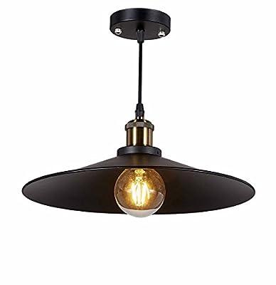 Diamond Life 1-light Antique Black Metal Shade Hanging Pendant Ceiling Lamp Fixture, #354