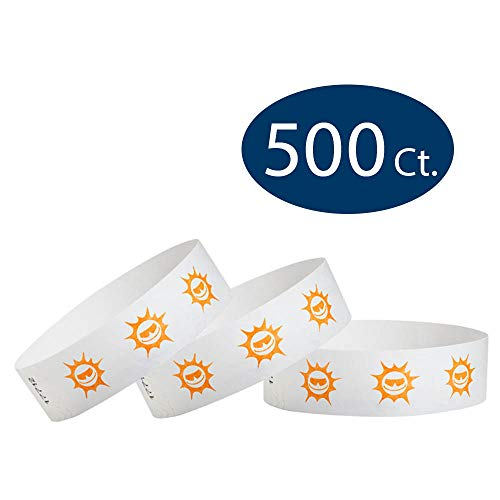 WristCo Orange Suns 3/4 Tyvek Wristbands - 500 Pack Paper Wristbands For Events